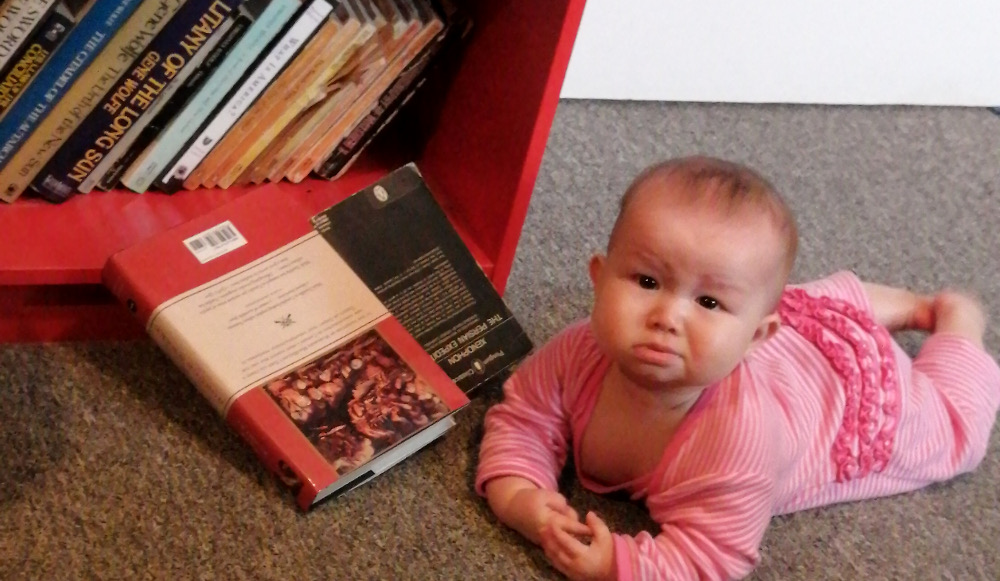 Photo of a satisfied baby after she has knocked a couple of Papa's books to the floor.
