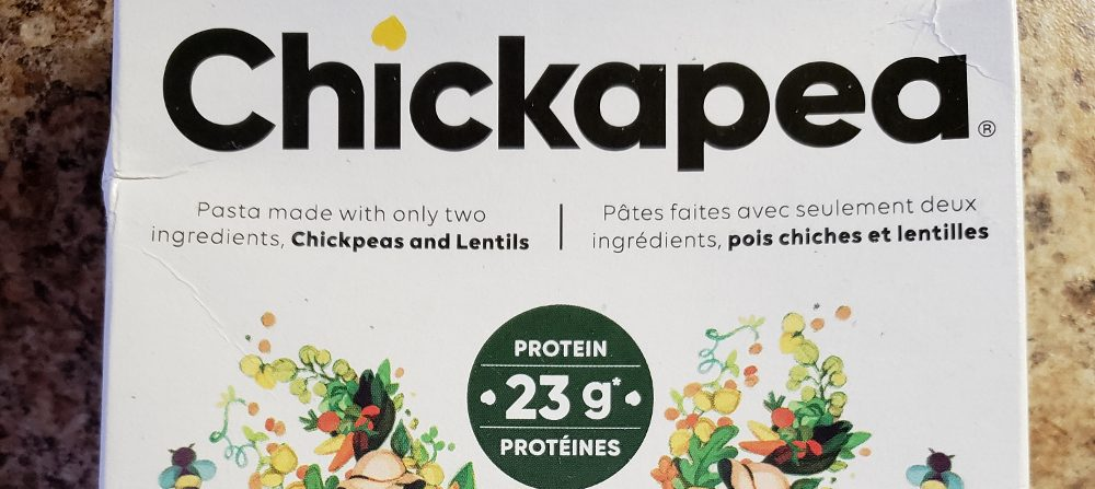 Partial photo of box of Chickapea brand chickpea pasta