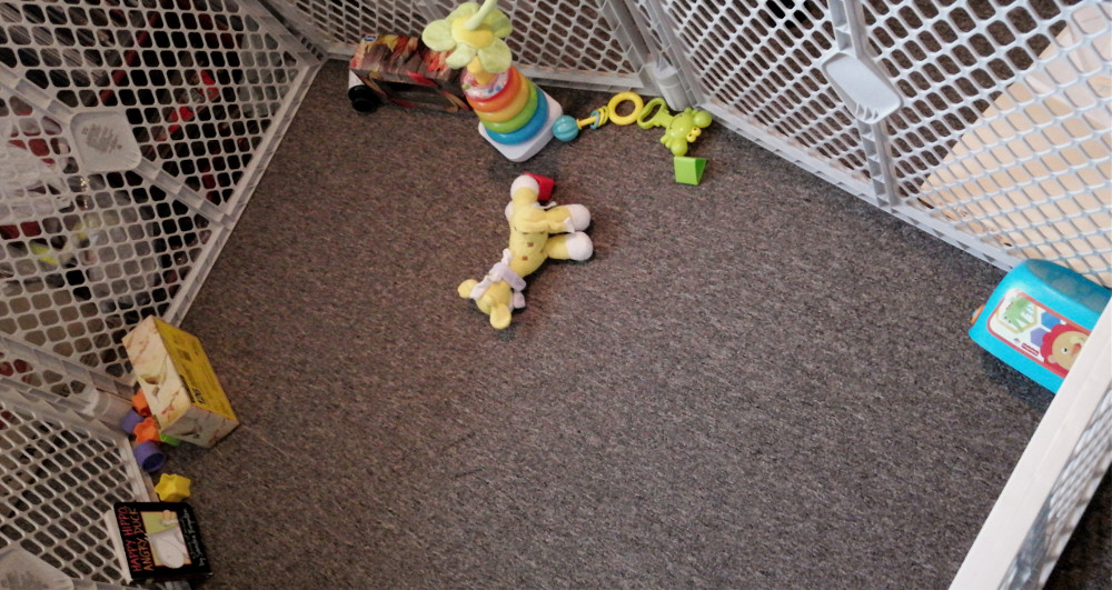 Photo of playpen with toys neatly arranged.