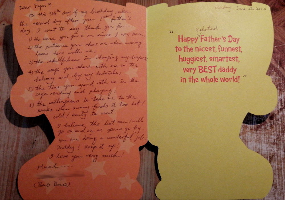 Photo of the enterior of a Father's Day card.