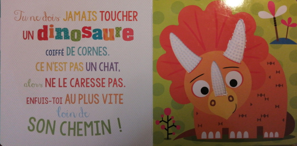 Photo of pages 4 and 5 of the children's picture book, Ne touche jamais un dinosaure!
