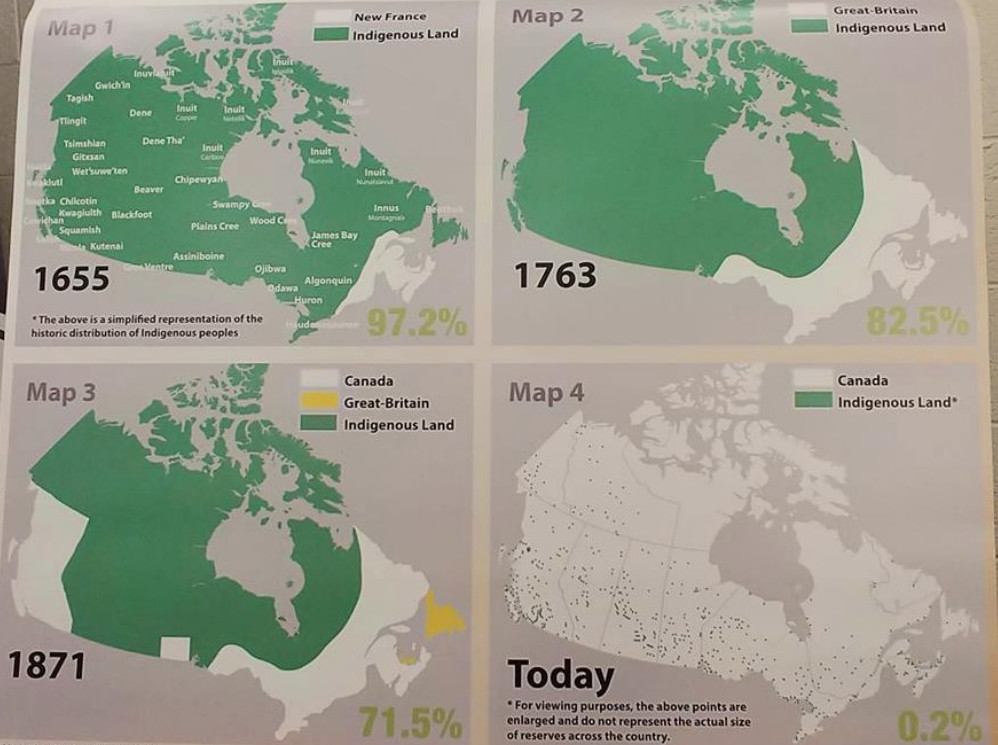 Image showing four maps of Canada, showing the 'progress' of the conquest of Canada's indigenous peoples over the centuries.