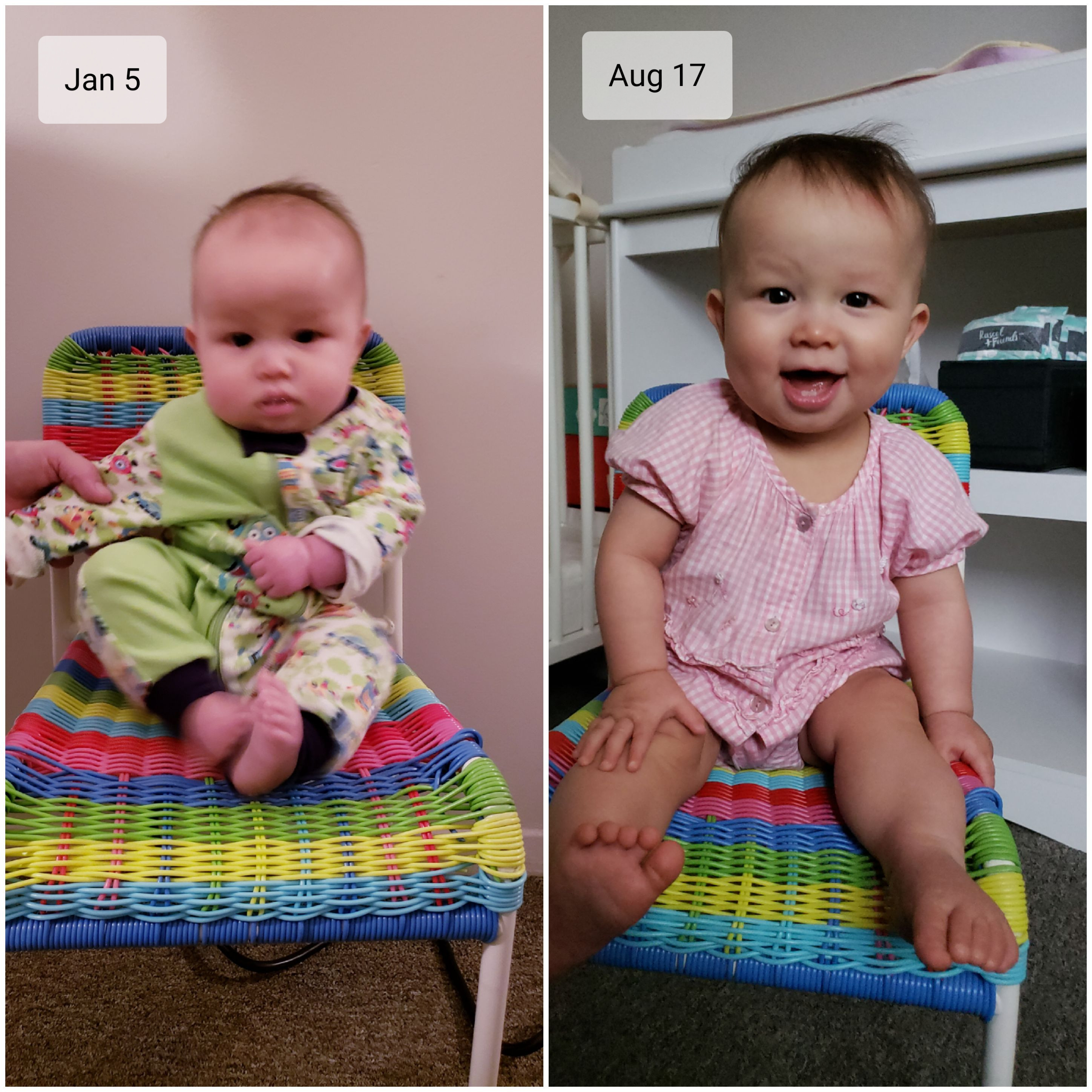 Photos of baby Baobao on her own chair. At left, January 5, 2020; at right, August 17, 2020.