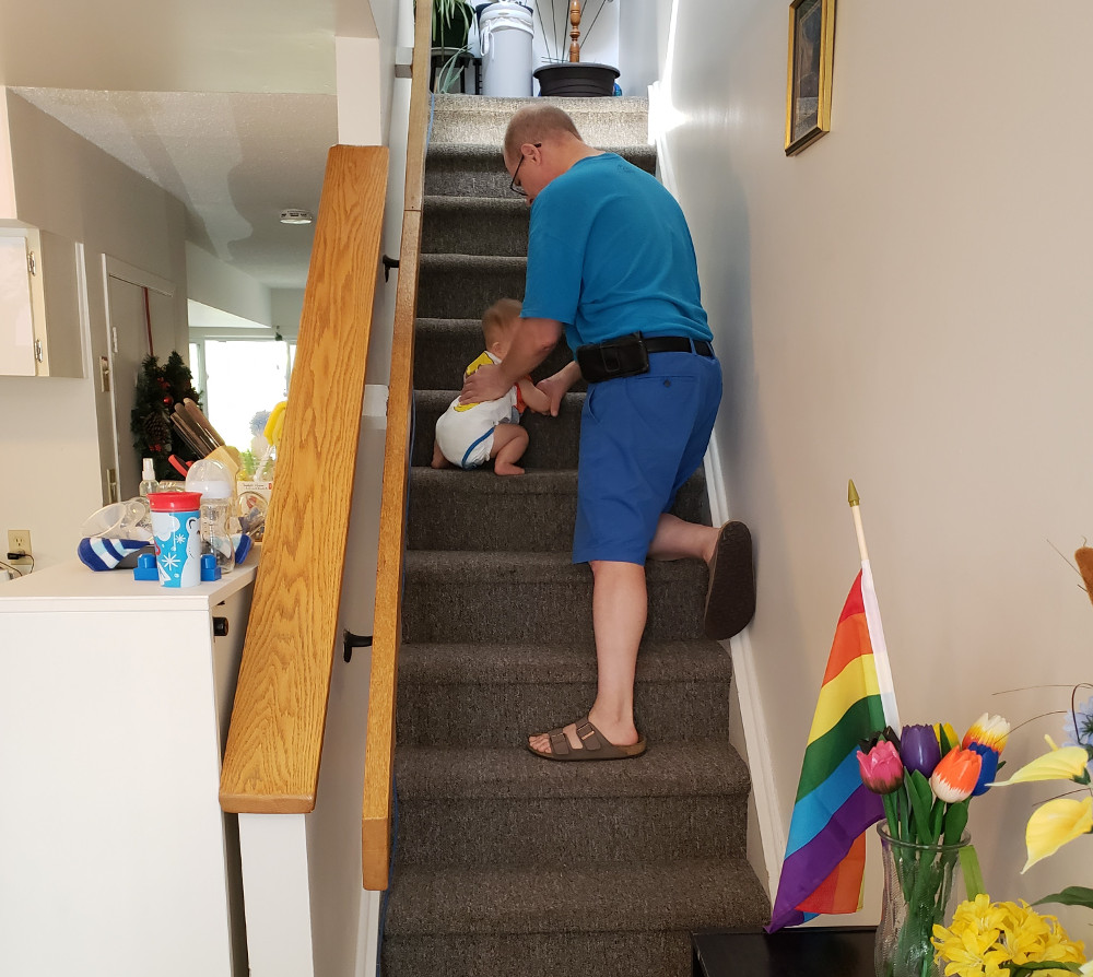 Photo of Papa Zesser catching Baby Baobao more than halfway up the stairs on July 31, 2020.