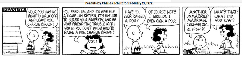 Image of a Peanuts strip from February 21, 1972.