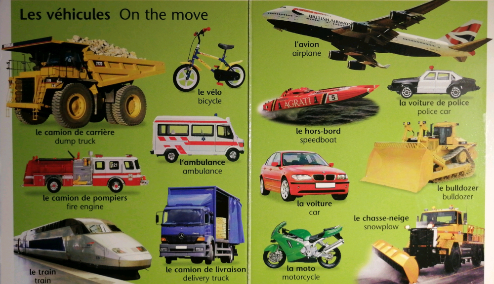 Image of various vehicles from Mon petit livre bilingue francais anglais